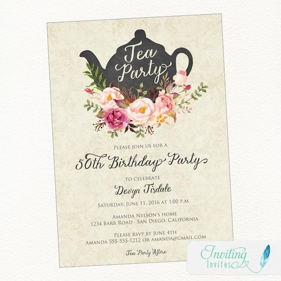 Birthday Party Invitation Tea Watercolor