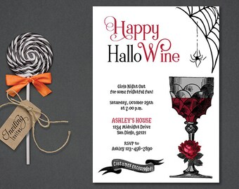 Wine Halloween Invitation, Adult Halloween, girls night out wine invite, ladies night, ghouls night out, cocktail party   DIGITAL or PRINTED