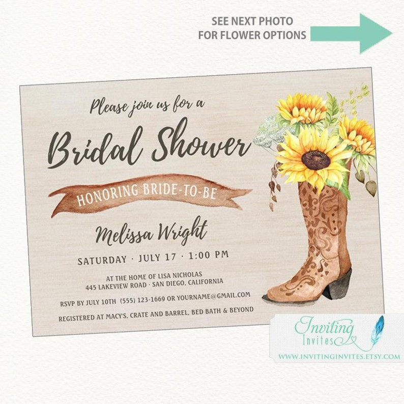 baa3d502a5d Cowboy Boot Sunflower Rustic Bridal Shower Invitation, Country, western,  Boho Chic, barn, Texas, Printable or Printed