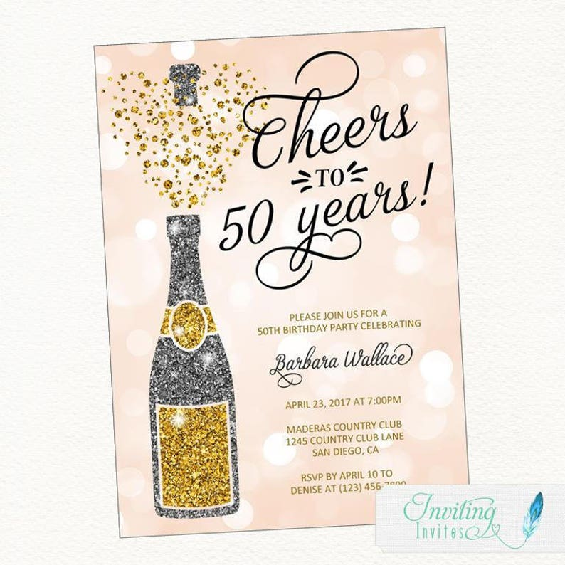 Birthday Party Invitation Champagne Cheers To 50 Years