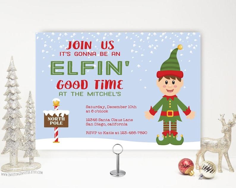 Elf Christmas Party Invitation Funny Holiday