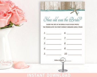 How Old Was the Bride Bridal Shower Game, Printable, PDF, party game, starfish, beach theme, INSTANT DOWNLOAD #111