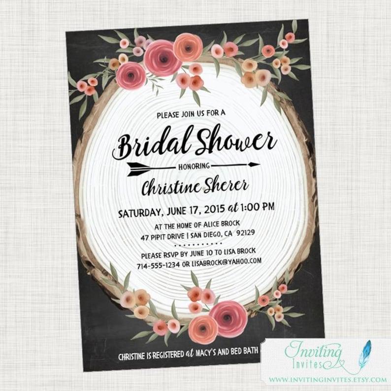 Rustic Bridal Shower Invitation   Boho Bohemian Wood Slice image 0