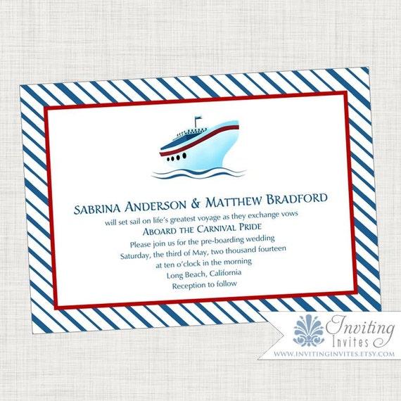Cruise Ship Wedding Invitation Printable Digital | Etsy