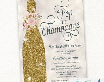 Gold Bridal Shower Invitation, Pink Flower Floral Pop the Champagne She's Changing her Last Name, Engagement Party Invite, brunch and bubbly