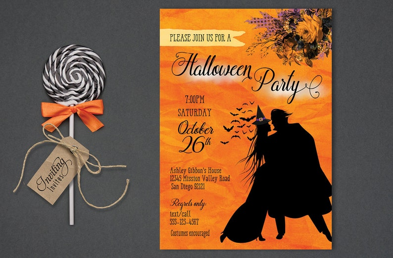Couples Halloween Invitation for Adults Halloween Invite image 0