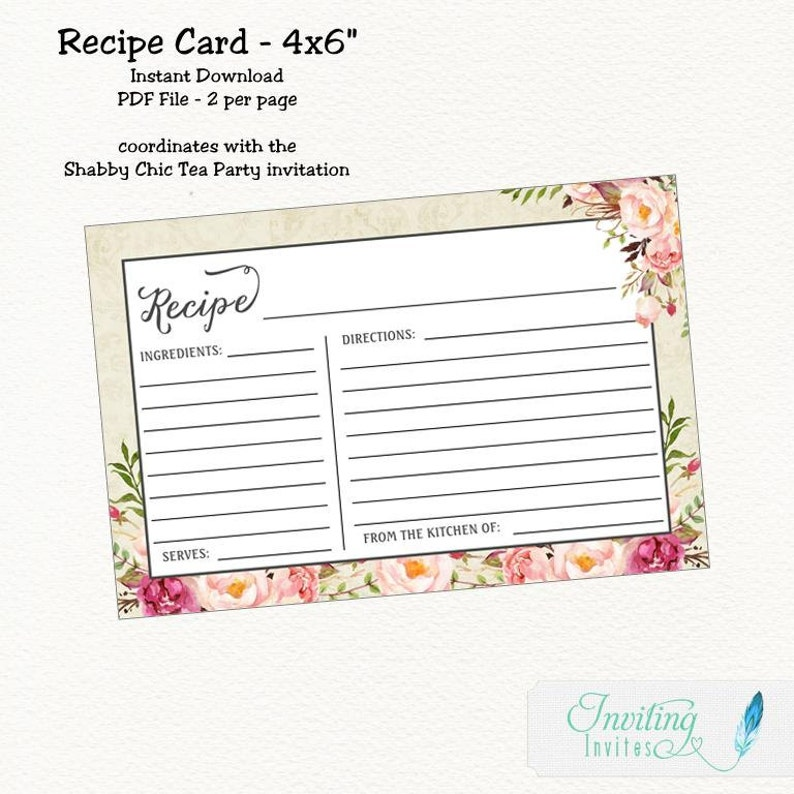 boho Shabby Chic Floral Recipe Card Bridal Shower flower Instant Download shabby chic