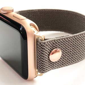 Apple Watch Elastic Apple Watch Band Slim Grey Taupe With Etsy