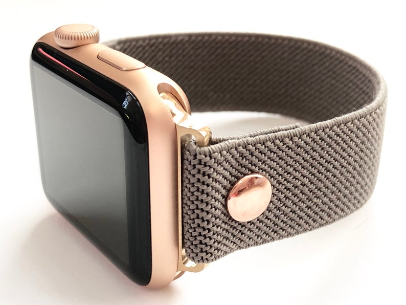 Elastic Apple Watch Band Slim Line Grey Taupe With Rose Gold Etsy