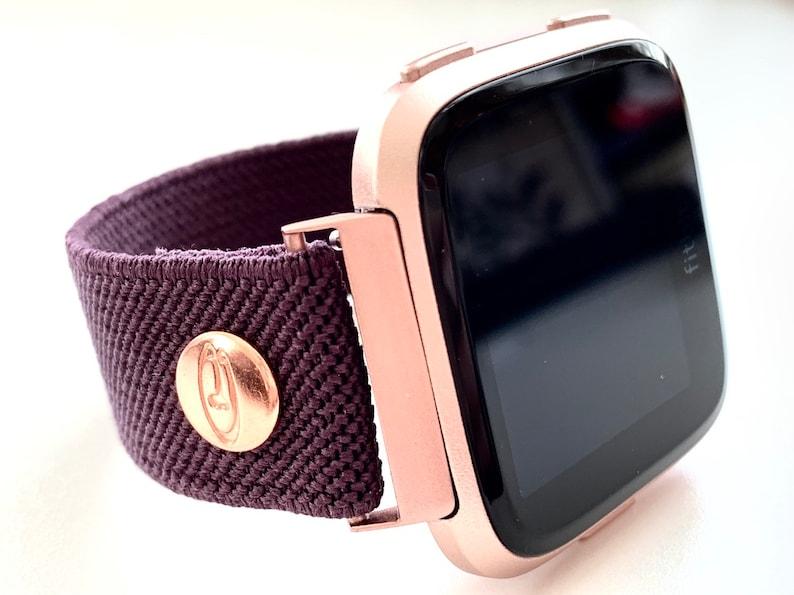 Fitbit VERSA Aubergine Eggplant slim line Elastic watch band Original  Designer band
