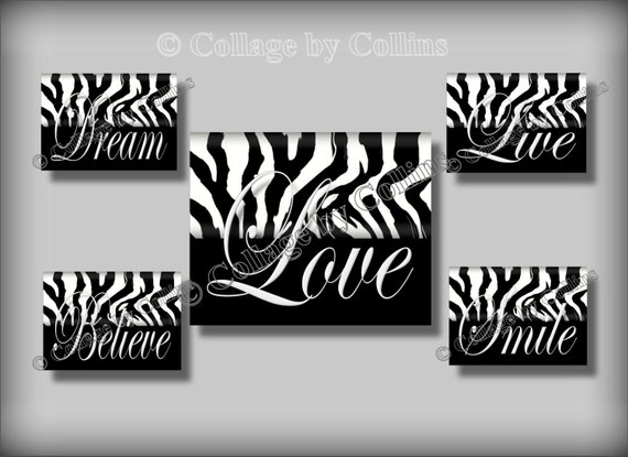 Zebra Print Black White Wall Art Girl Teen Room Decor Smile Etsy