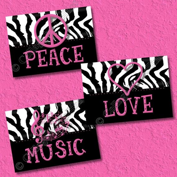 Hot Pink Zebra Print Art Wall Decor Peace Sign Love Music | Etsy