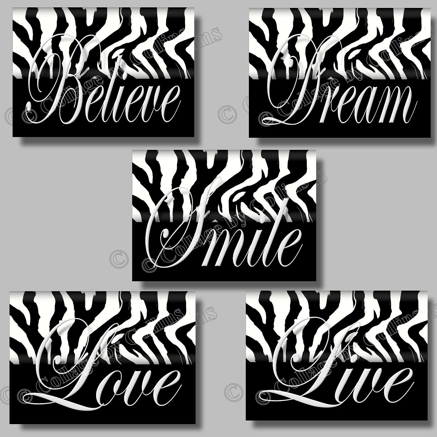 Zebra Print Inspirational Art Girls Room Wall Home Decor Black White Smile Dream Live Love Believe Quote Unframed Bedroom Pictures Photos