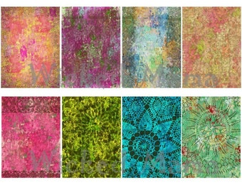 Watercolor ACEO\/ATC Digital Collage Sheet Backgrounds for Altered Art