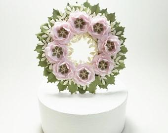 Paper Rose Wreath Wedding Cake Topper