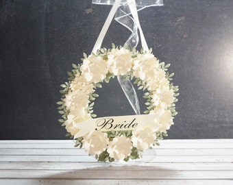 Paper Flower Bride Wreath in Ivory and Greens