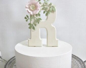 Monogram Cake Topper with Handmade Paper Flower