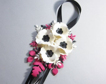 Paper Flower and Ribbon Aisle or Pew Decoration
