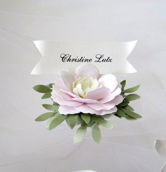Wedding Place Cards Handmade Paper Flowers Etsy