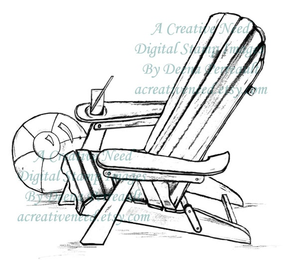 INSTANT DOWNLOAD Digital Stamp Image ADIRONDACK Chair and ball