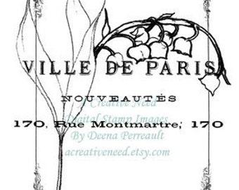 Instant Download Digital Stamp Image Spring in Paris Collage