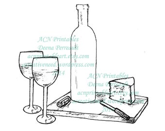 INSTANT DOWNLOAD Digital Stamp Image Wine and Cheese for Two