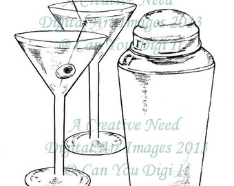 INSTANT DOWNLOAD Digital Stamp Image Martinis and Shaker