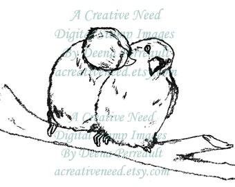 INSTANT DOWNLOAD Digital Stamp Image LoVe BIRDS