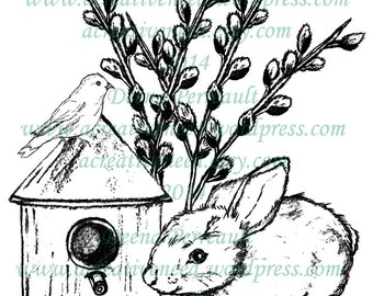INSTANT DOWNLOAD Spring BUNNY and Bird House, Digital Stamp Image, for Scrapbook, Cards, art journals