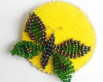 Green moth brooch - green butterfly brooch - full moon brooch
