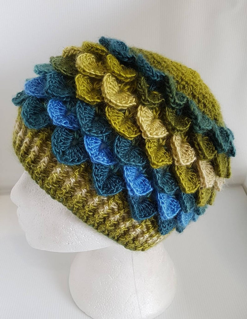 Green Fairy Hat Adult sized Dragon scale hat green  beanie image 0