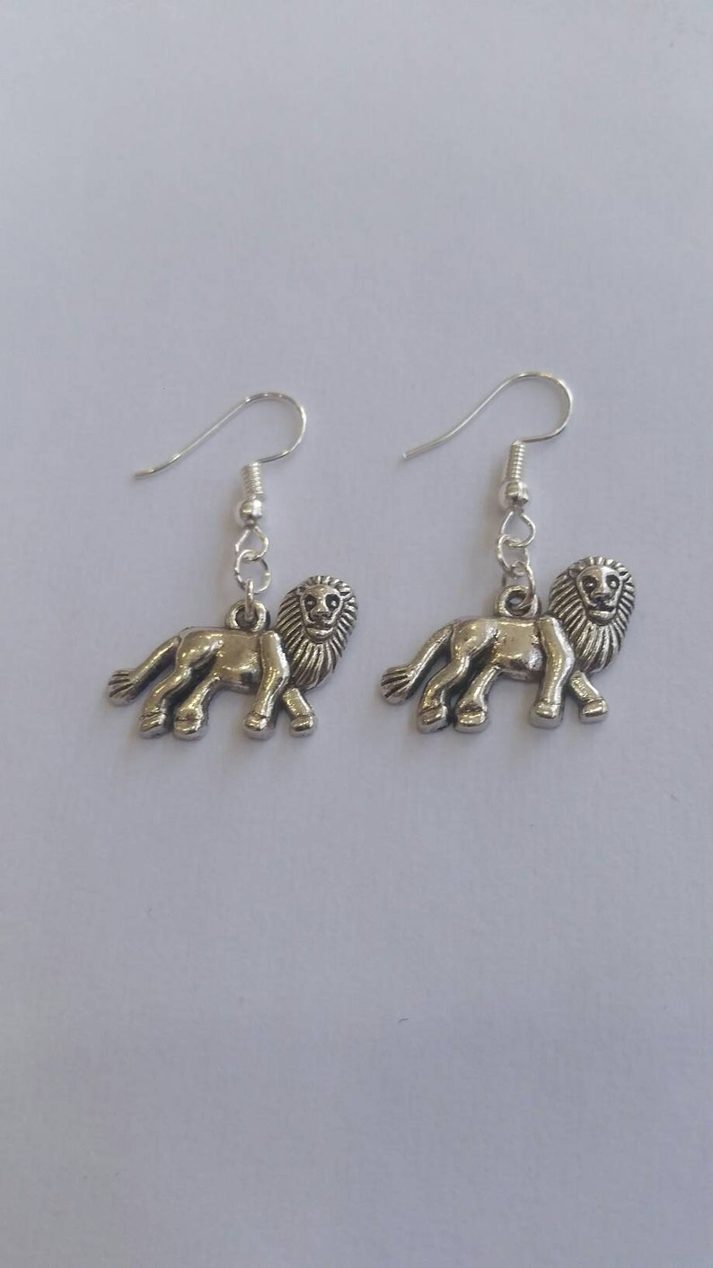 lion earrings  leo earrings image 0