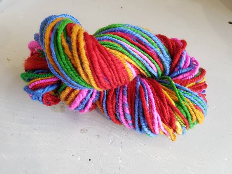 Rainbow handspun yarn  wool yarn  art yarn image 0