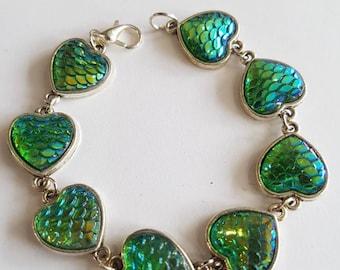 Green mermaid Bracelet - green dragon bracelet- green Dragonscale bracelet