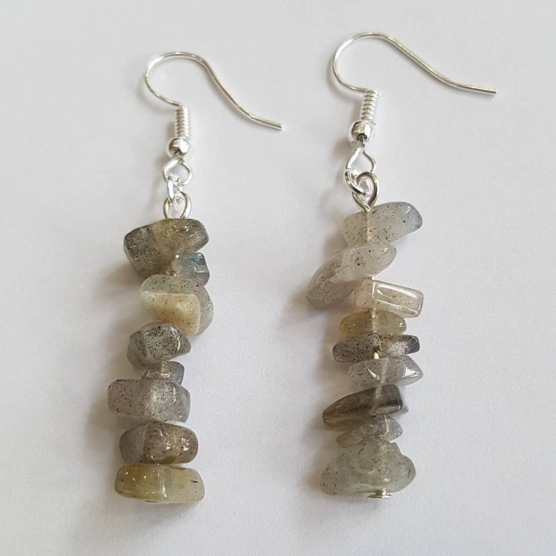 Labradorite Earrings grey Gemstone Earrings grey Earrings image 0