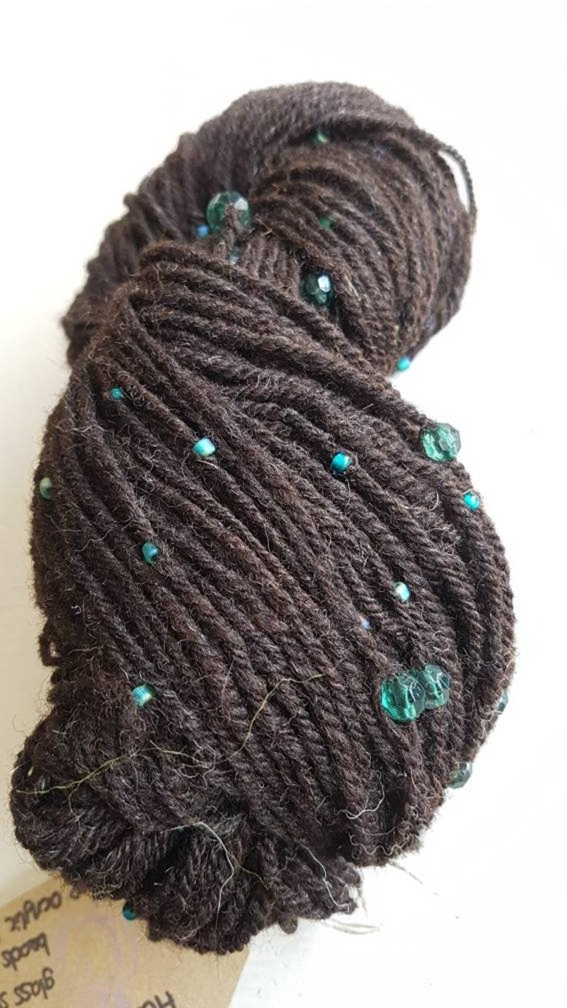 Handspun black Shetland wool handspun beaded wool black and image 0