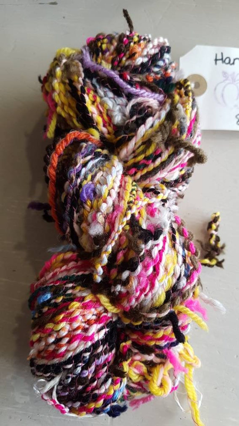 Recycled handspun yarn rainbow yarn scrappy yarn bright image 0