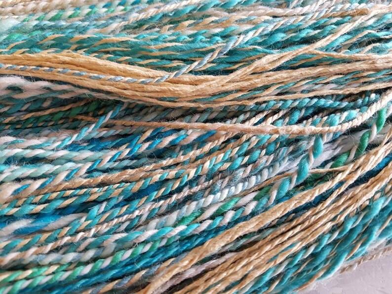 Seaside handspun yarn  wool yarn  turquoise Blue and sand image 0
