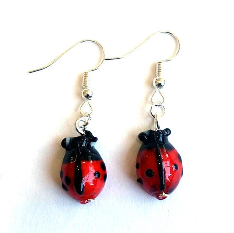 ladybird Earrings   insect earrings  gardening earrings image 0