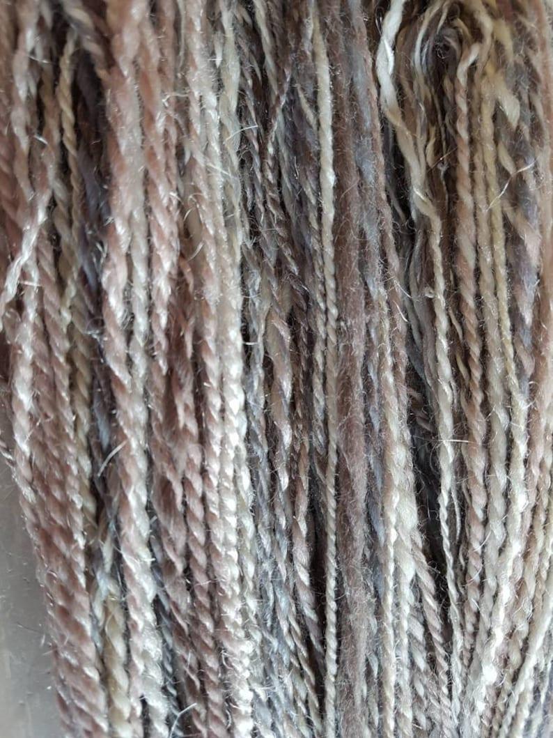 Pearls handspun yarn  wool yarn  cream pink grey image 0