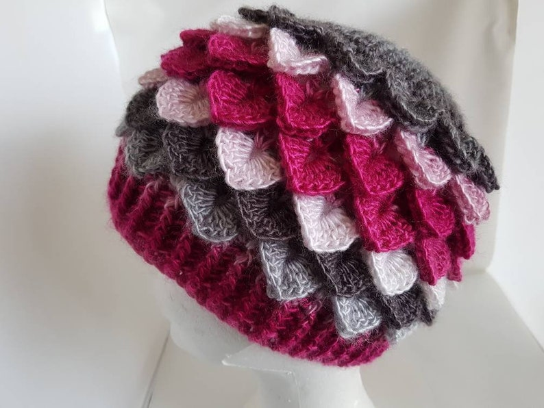 Adult sized Dragon scale hat  beanie hat  crocodile stitch image 0