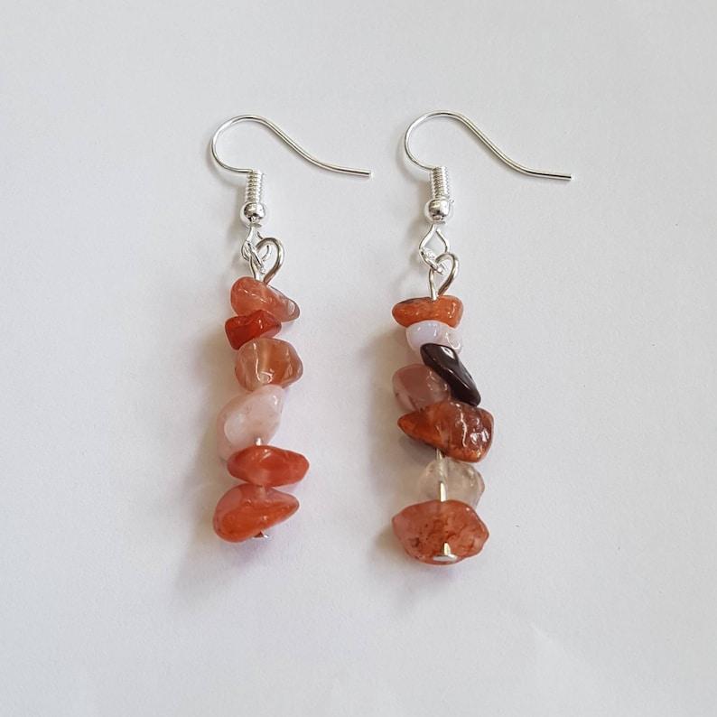 Carnelian Earrings orange Gemstone Earrings orange Earrings image 0