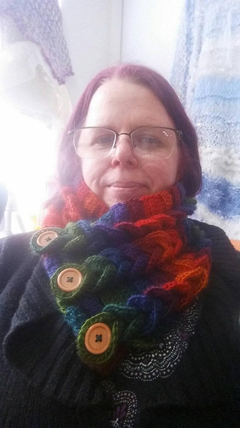 Rainbow Cowl  Crochet cowl rainbow scarf  rainbow neck image 0