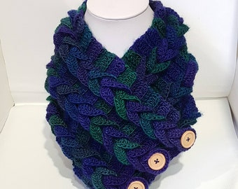 Blue Cowl scarf, Crochet cowl, green cowl scarf, blue scarf, green neck warmer, cable cowl, blue and green  deep vegan