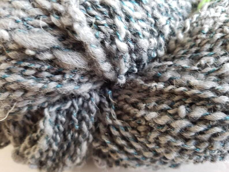 handspun yarn  wool yarn  grey and teal image 0