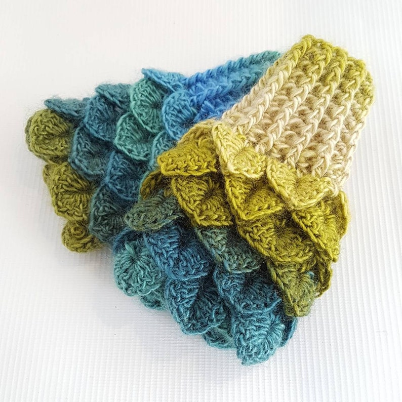 Kids blue green Mittens green blue Dragon scale gloves image 0