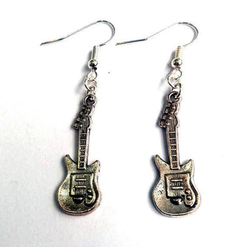 Electric guitar earrings  musical earrings  rock earrings image 0