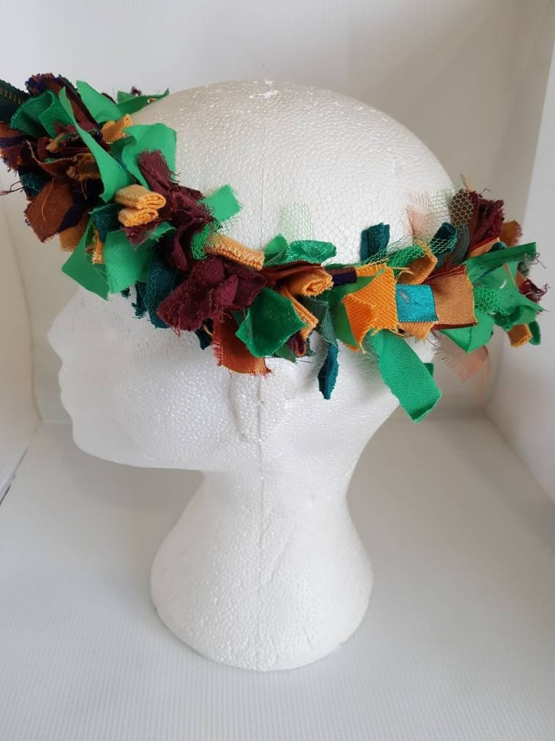 Autumn raggy hair wreath  green orange brown hair wreath image 0