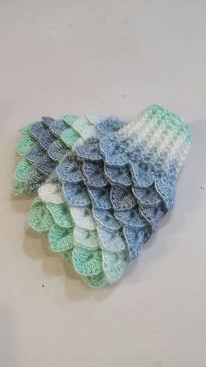 Green fingerless Mittens  grey Dragon scale gloves  Mermaid image 0