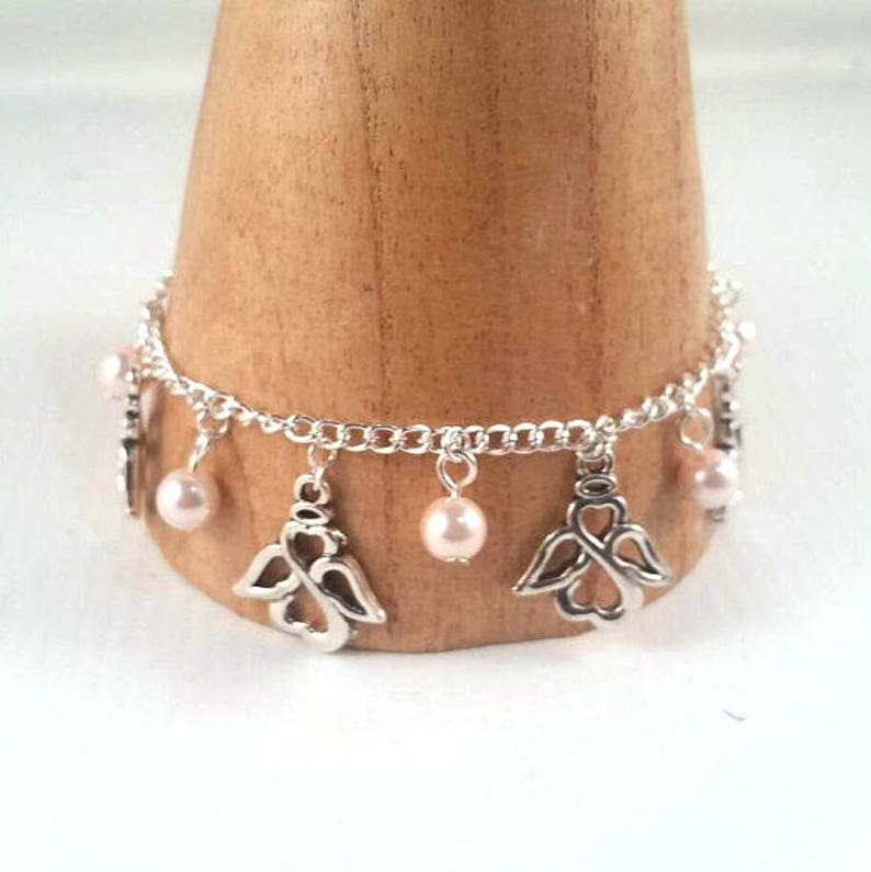 Silver angel Charm Bracelet  angel bracelet  angel jewellery image 0